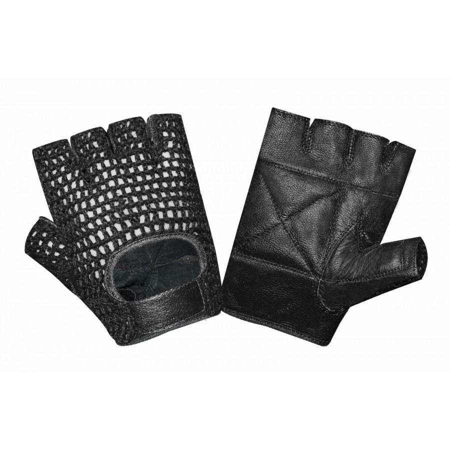 c168ece11be Ръкавици за фитнес кожени с мрежа JK Fitness