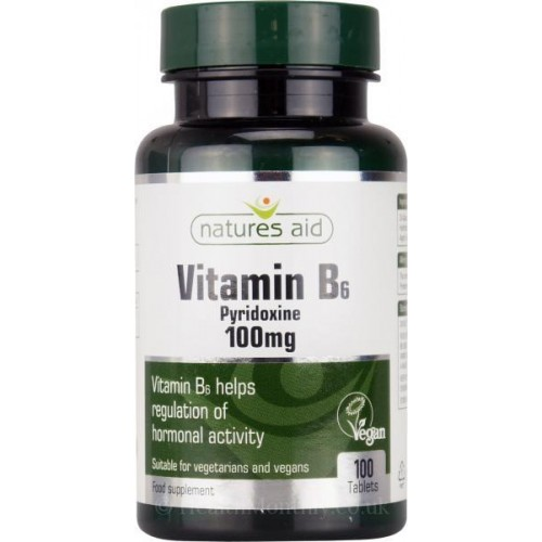 Natures Aid Vitamin B6 (High Potency) 100 мг, 100 табл.
